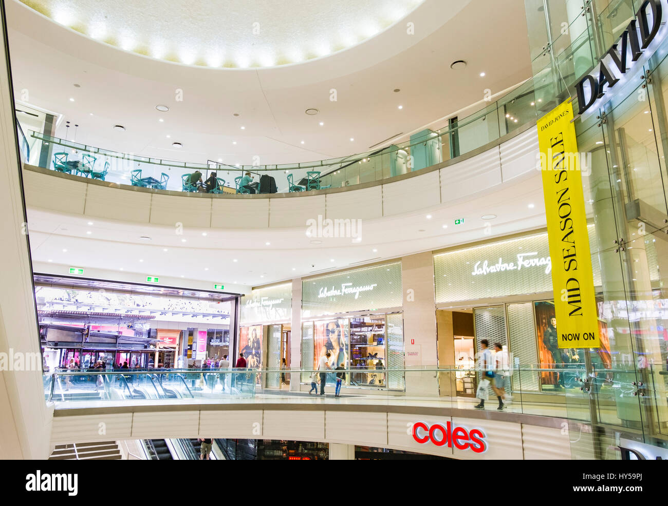 Interior of a modern shopping mall: Queen's Plaza Shopping Centre, Queen Street Mall, Brisbane, Queensland, - Stock Image