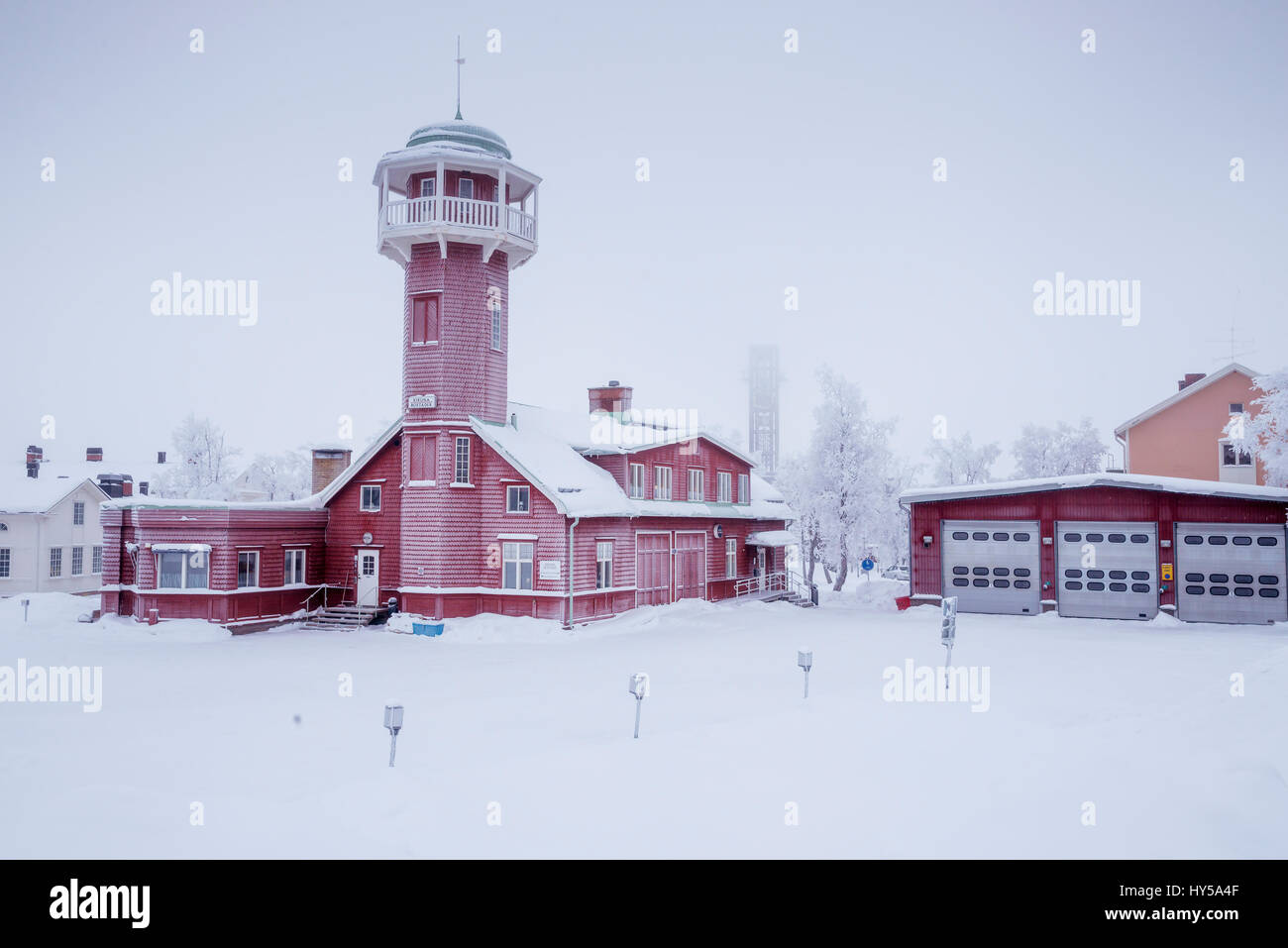 Sweden, Lapland, Kiruna, Brick building with tower against clear sky - Stock Image