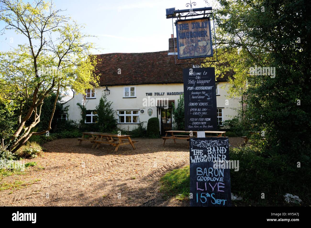 The Jolly Waggoner, Ardeley, Hertfordshire, is an ancient inn which provides 'Real Food' and 'Real Ale' to its customers. - Stock Image