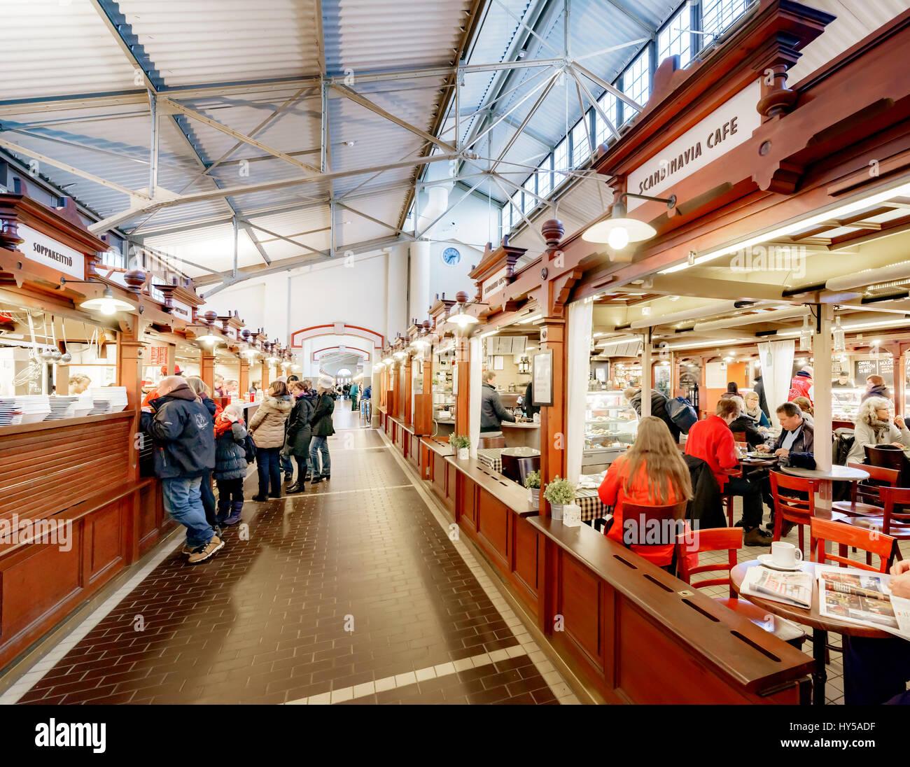 Finland, Uusimaa, Helsinki, Interior of Gamla Saluhallen - Stock Image