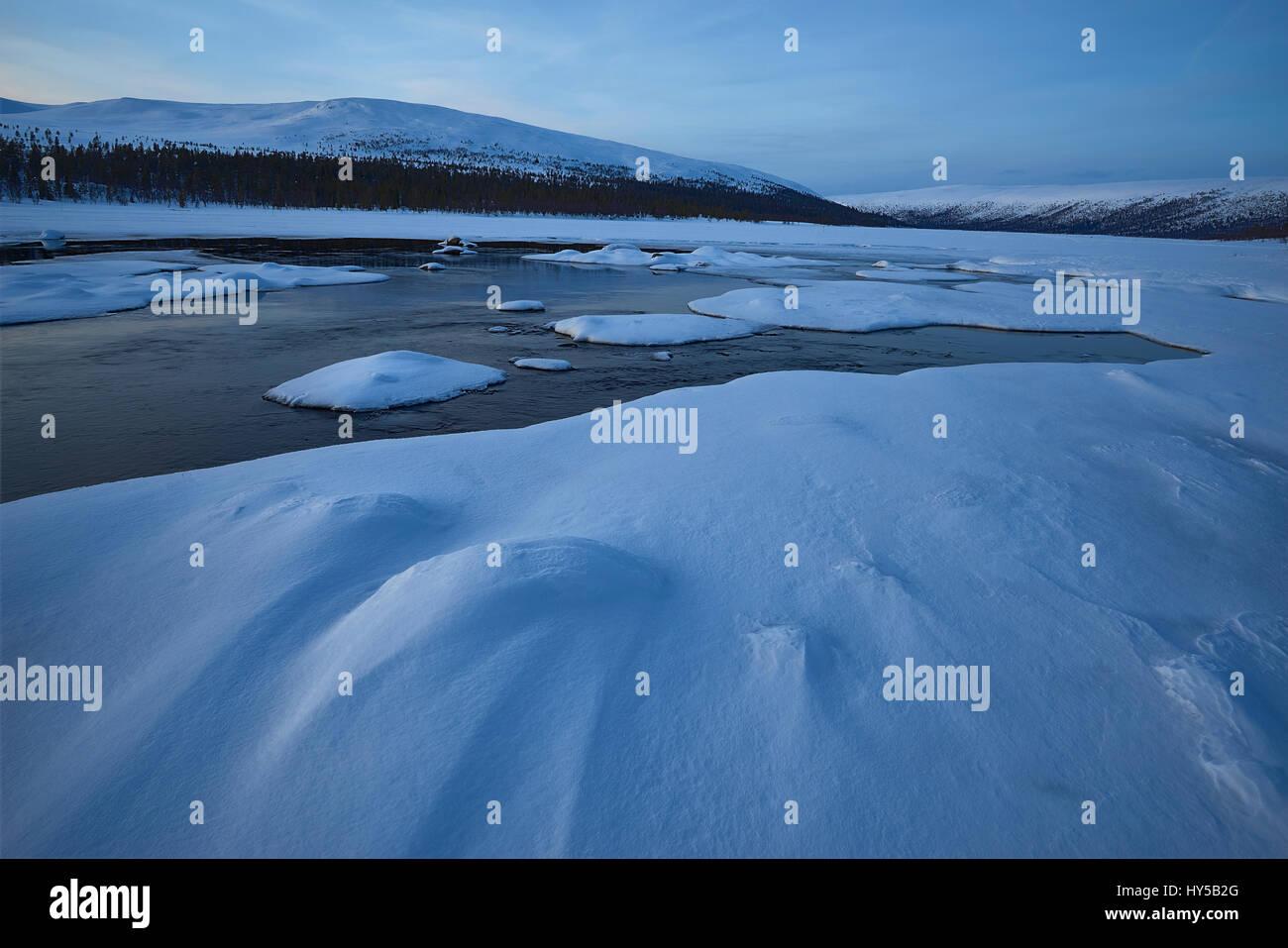 Sweden, Grovelsjon, Dalarna, Landscape with ice and snow - Stock Image