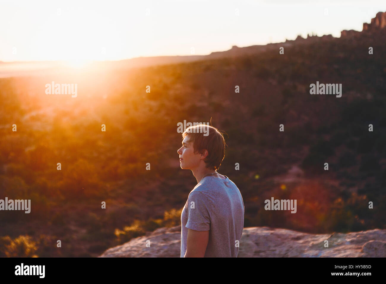 USA, Utah, Moab, Man looking at view in Arches National Park - Stock Image