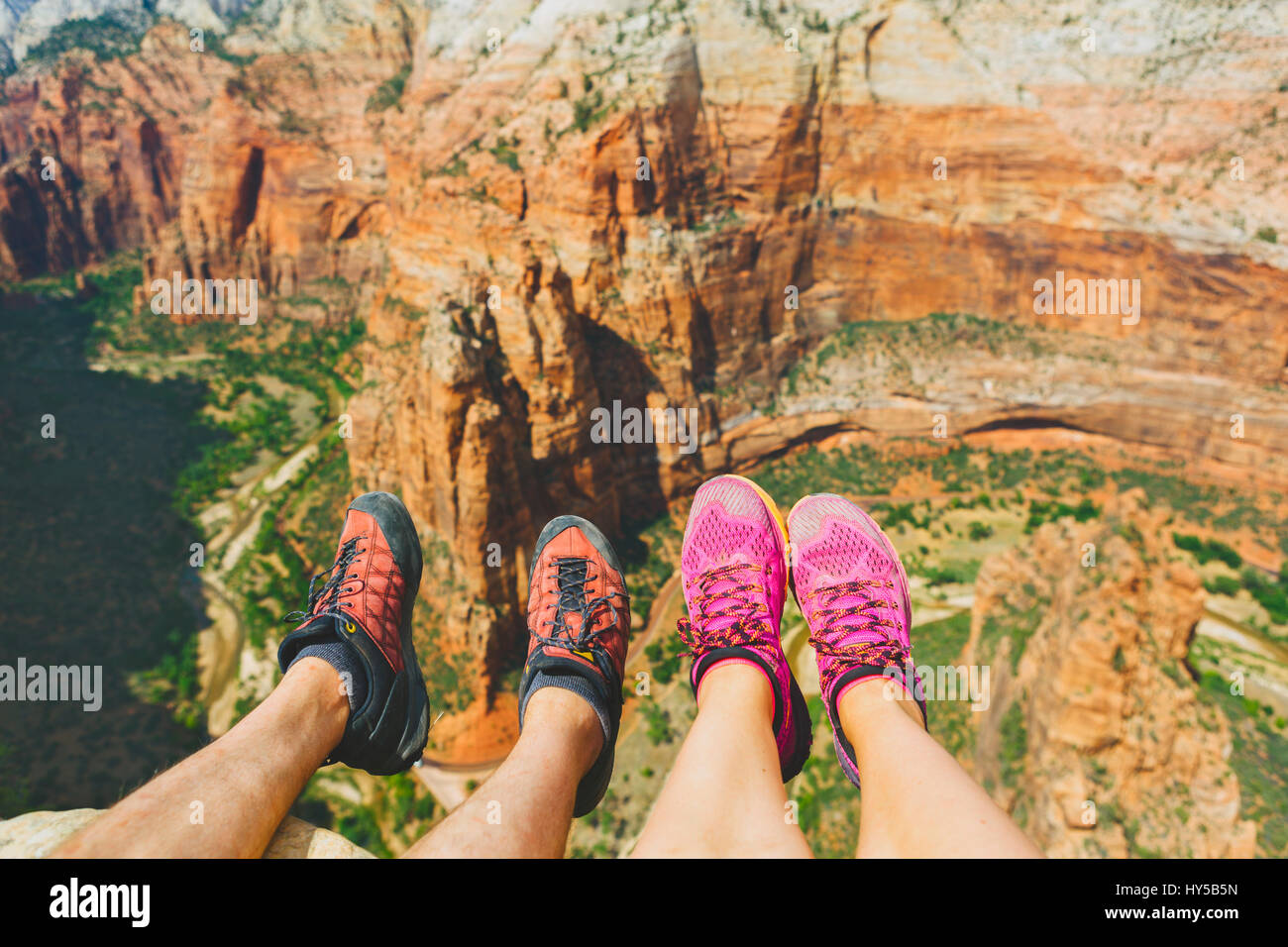 USA, Utah, Low section of woman and man in Zion National Park - Stock Image