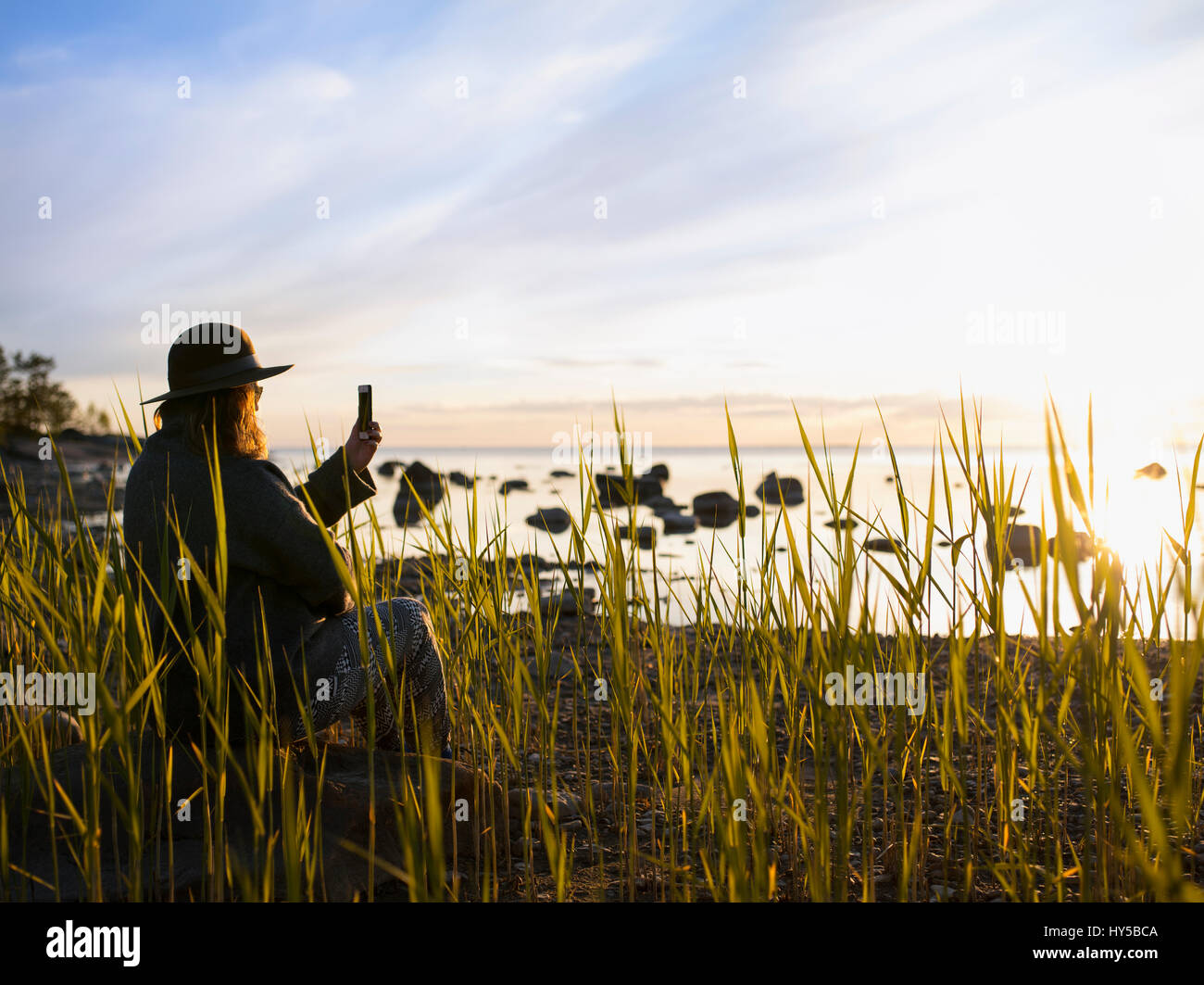 Finland, Ostrobothnia, Jakobstad, Faboda, Woman sitting among reeds by sea and photographing - Stock Image