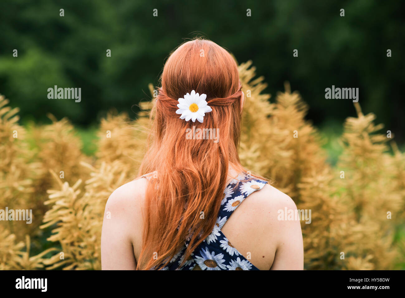 Finland, Pirkanmaa, Tampere, Young woman wearing floral dress and daisy flower in her hair - Stock Image