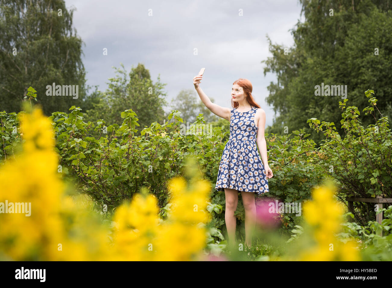 Finland, Pirkanmaa, Tampere, Woman taking selfie in rural scenery - Stock Image