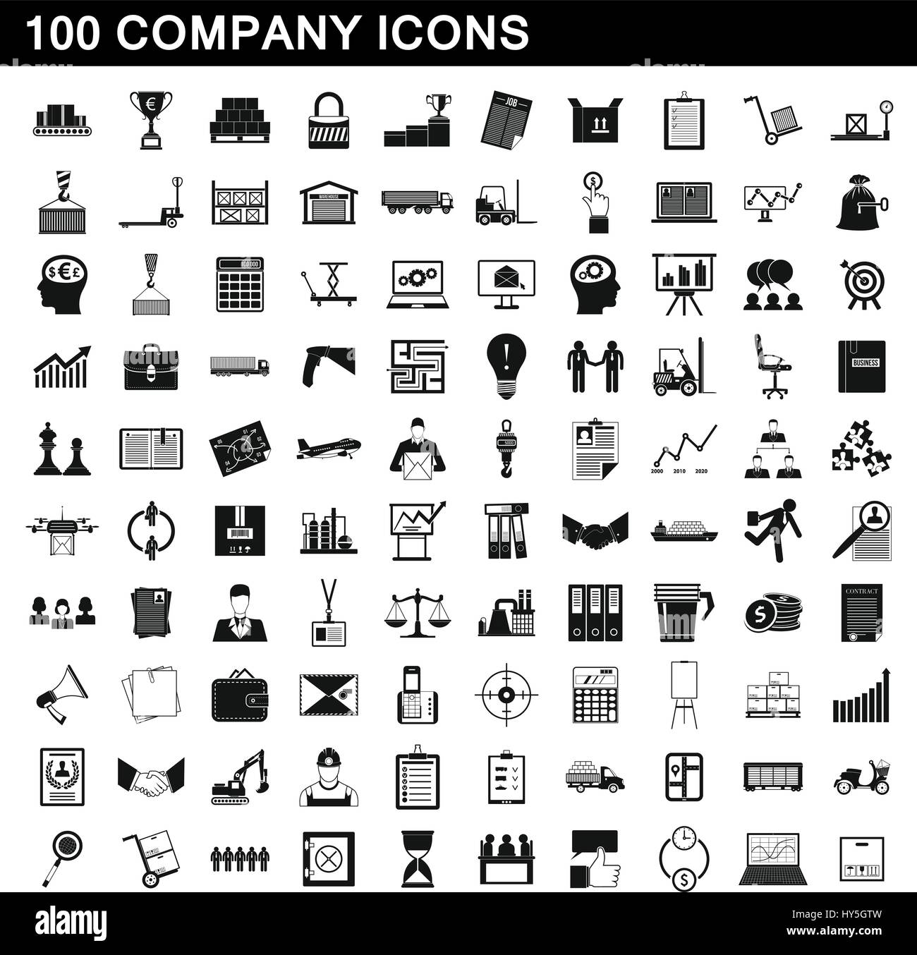 100 company icons set, simple style Stock Vector