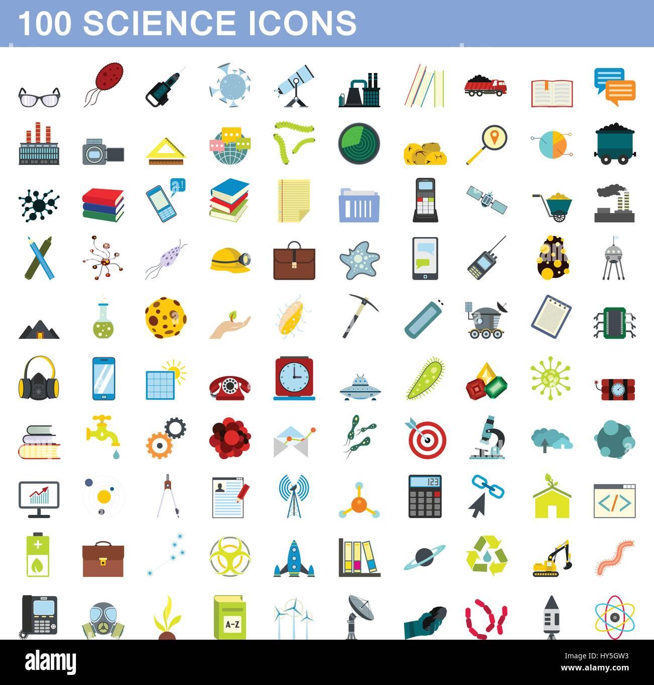 100 science icons set, flat style - Stock Image
