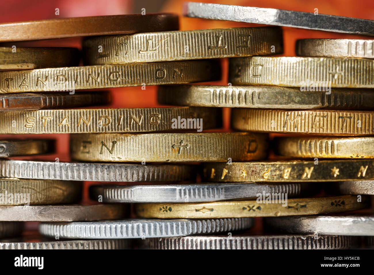 Coins are the background for considerations of a business Stock Photo