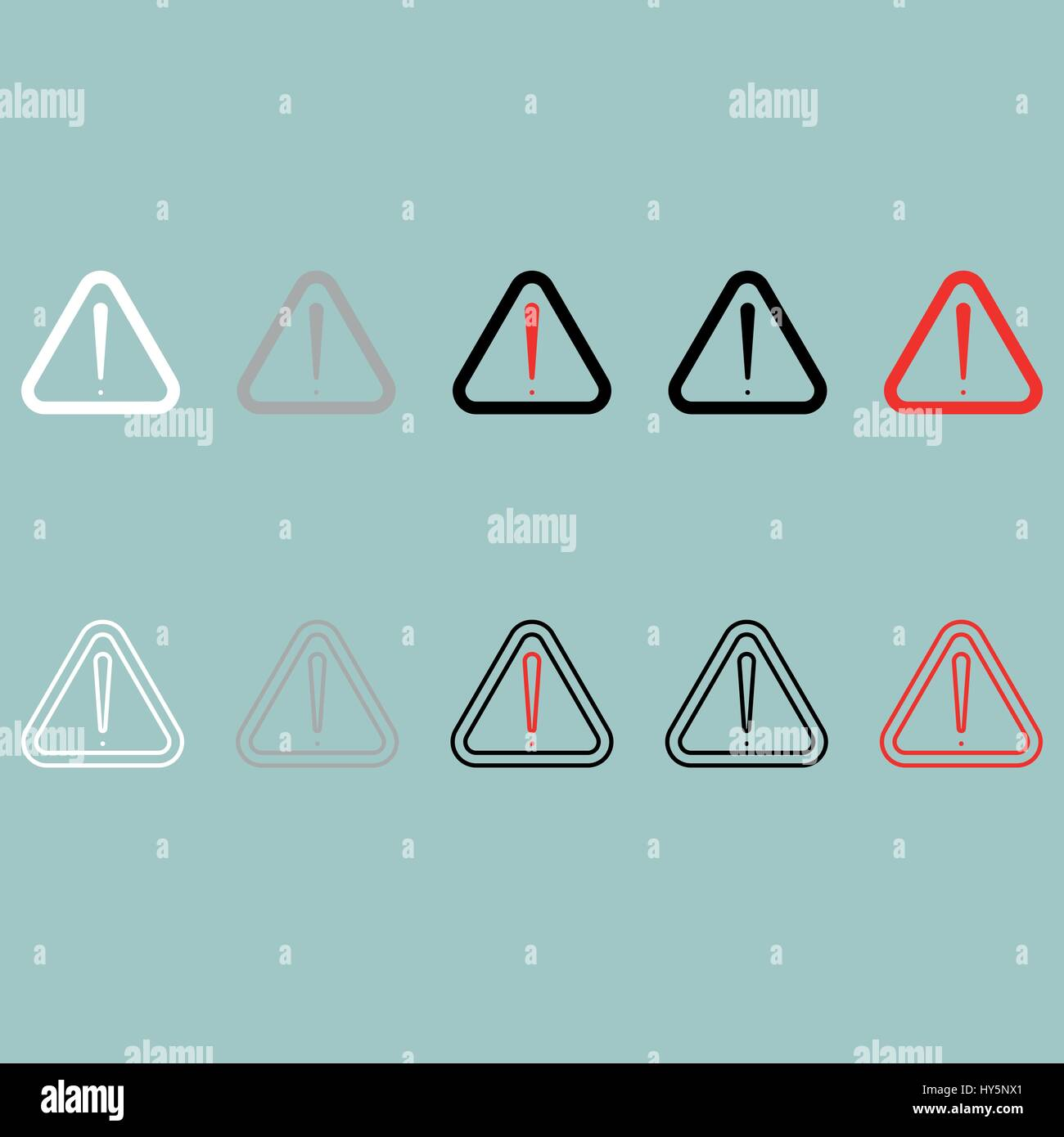 Sign attention heed notice note accent icon. Set icons. - Stock Image
