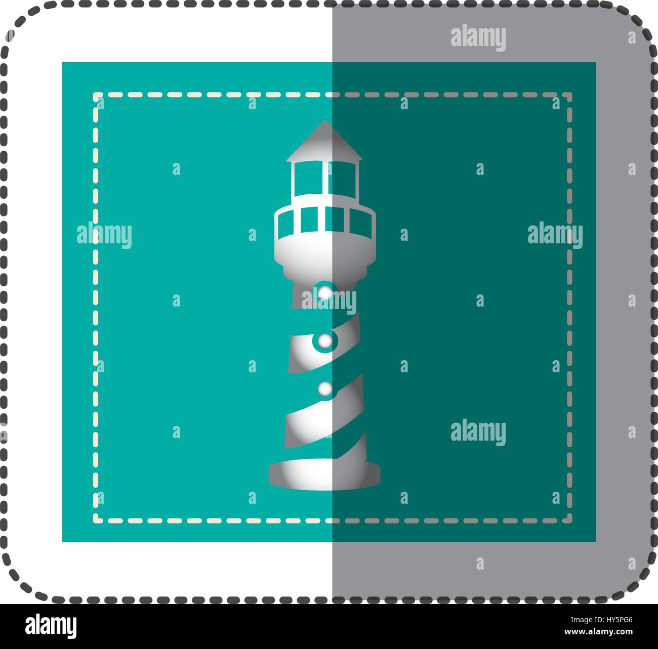 color sticker frame with tower of lighthouse - Stock Vector