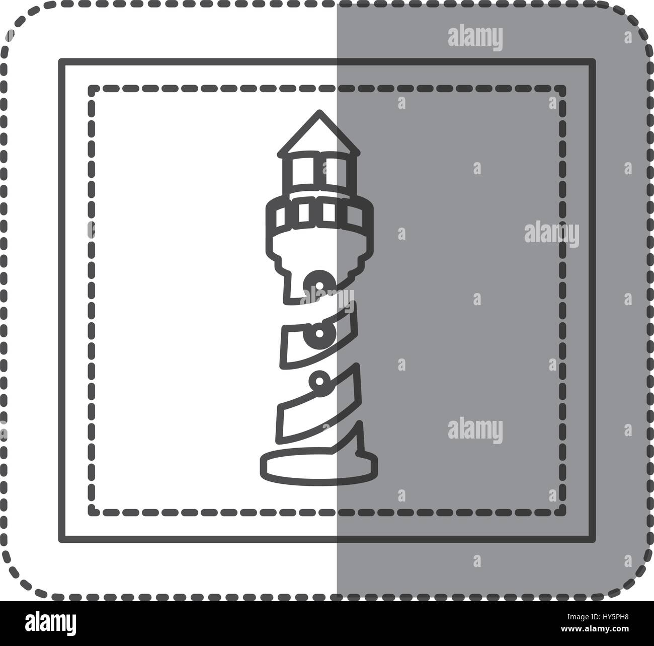 monochrome sticker frame with tower of lighthouse - Stock Vector