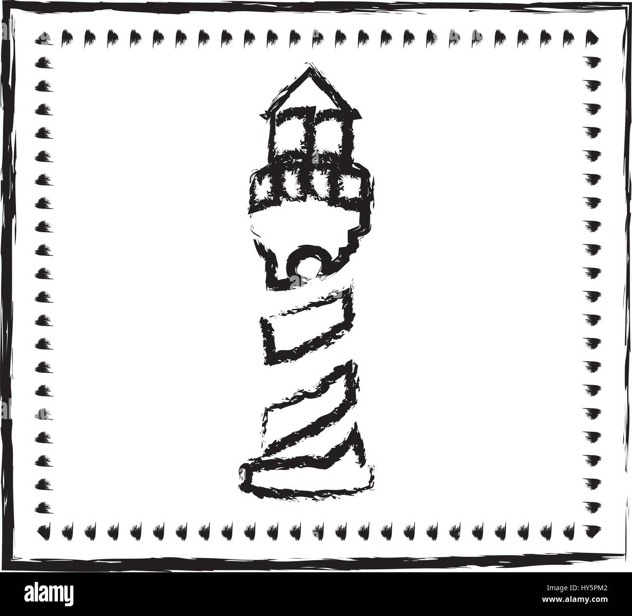 monochrome sketch frame with tower of lighthouse - Stock Vector