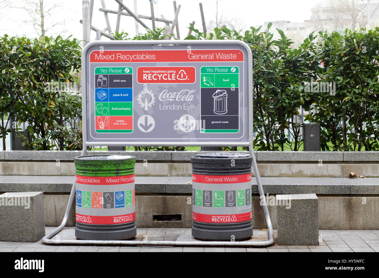 Mixed recyclables and general waste bins in London - Stock Image