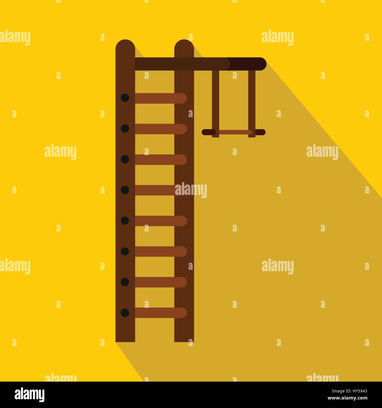 Swedish ladder icon, flat style - Stock Image