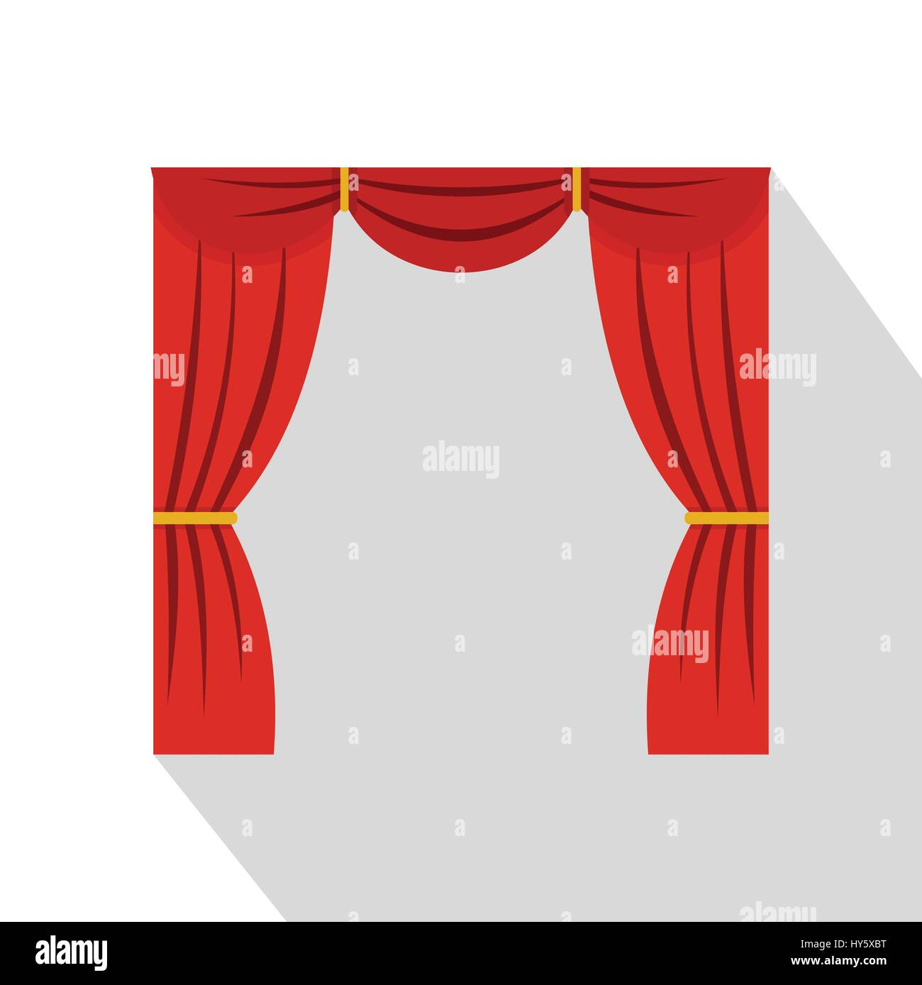 Curtain on stage icon, flat style - Stock Vector