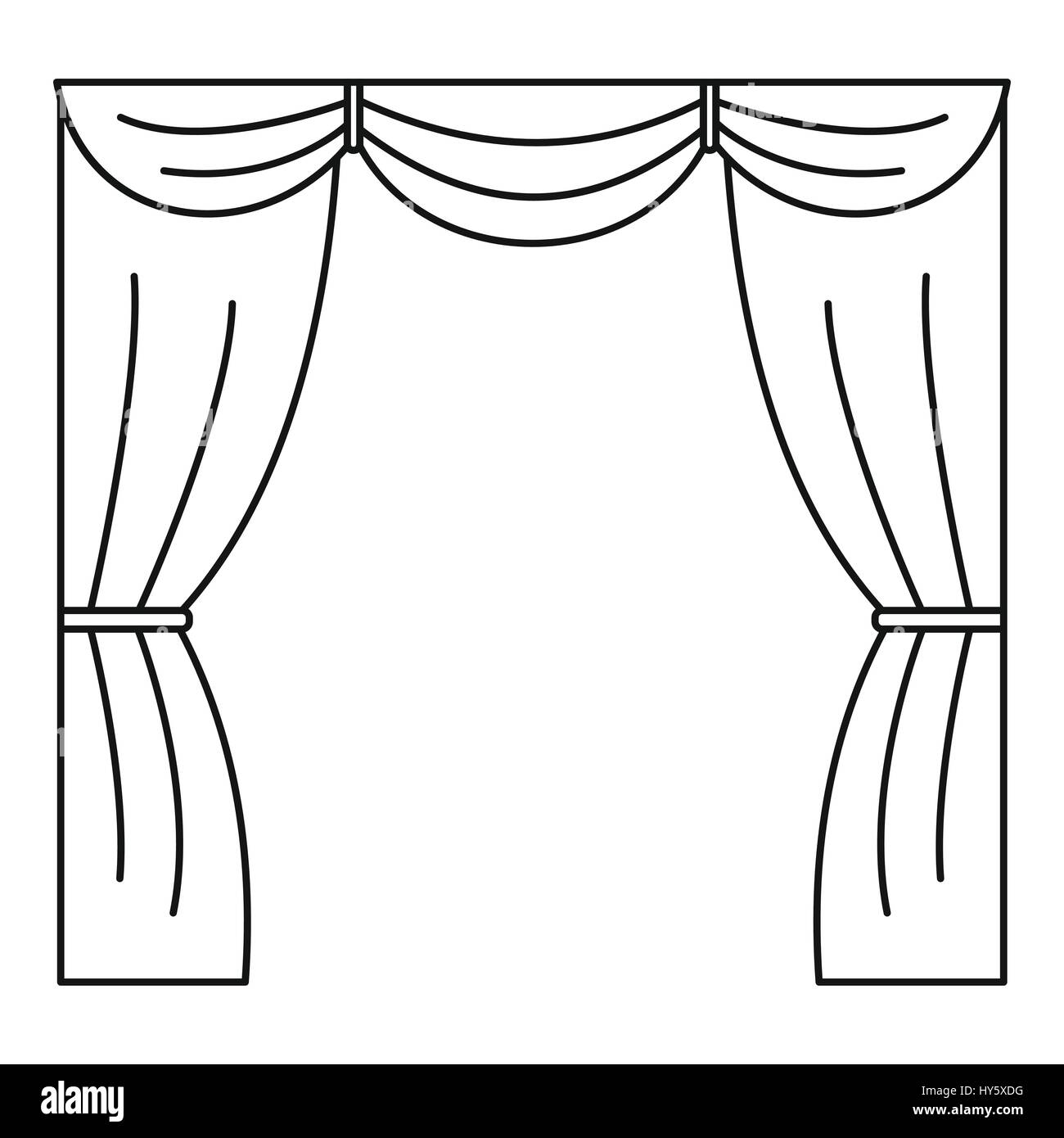 Curtain on stage icon, outline style - Stock Vector