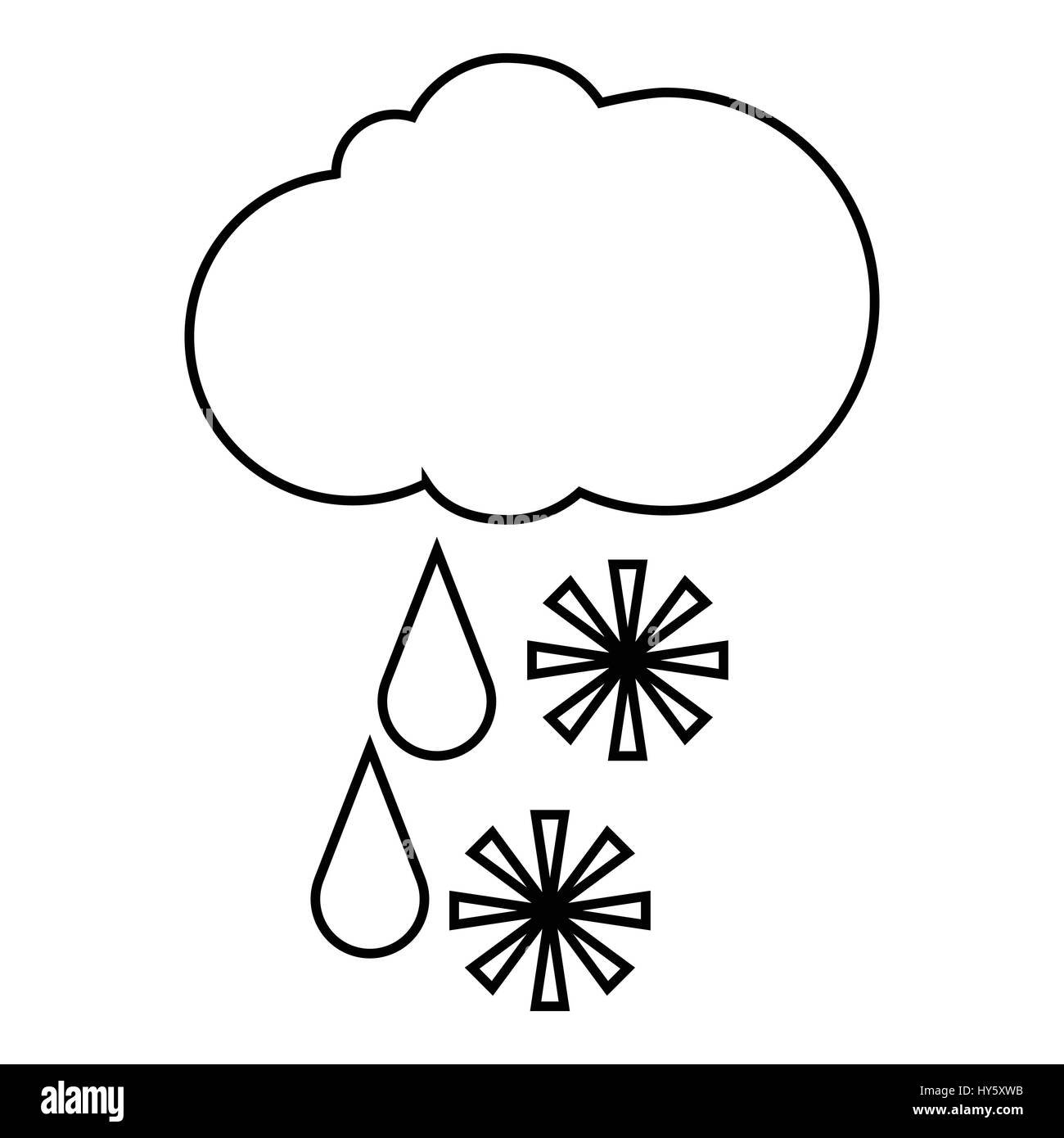 Cloud with snow and rain icon, outline style - Stock Vector