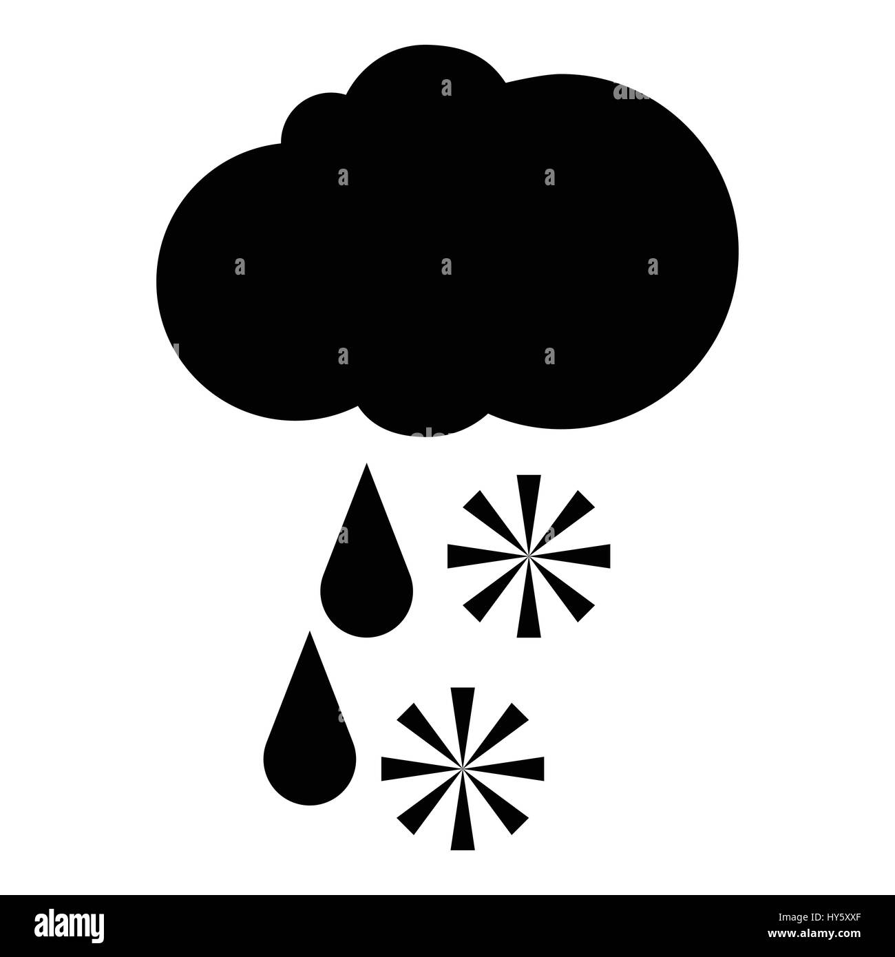Snow with rain icon, simple style - Stock Vector