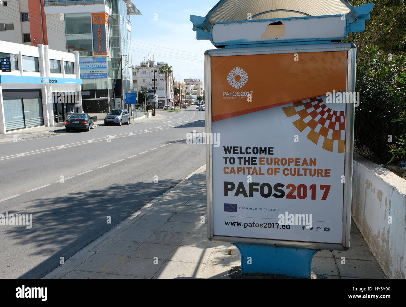 Paphos European Capital of Culture 2017 Sign in Paphos Cyprus - Stock Image