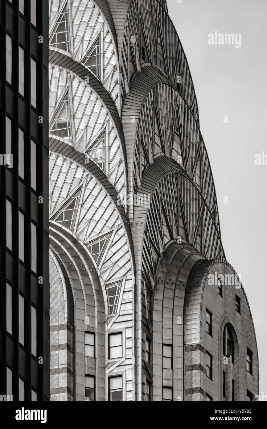 Top Of The Chrysler Building Art Deco Style In Black White New