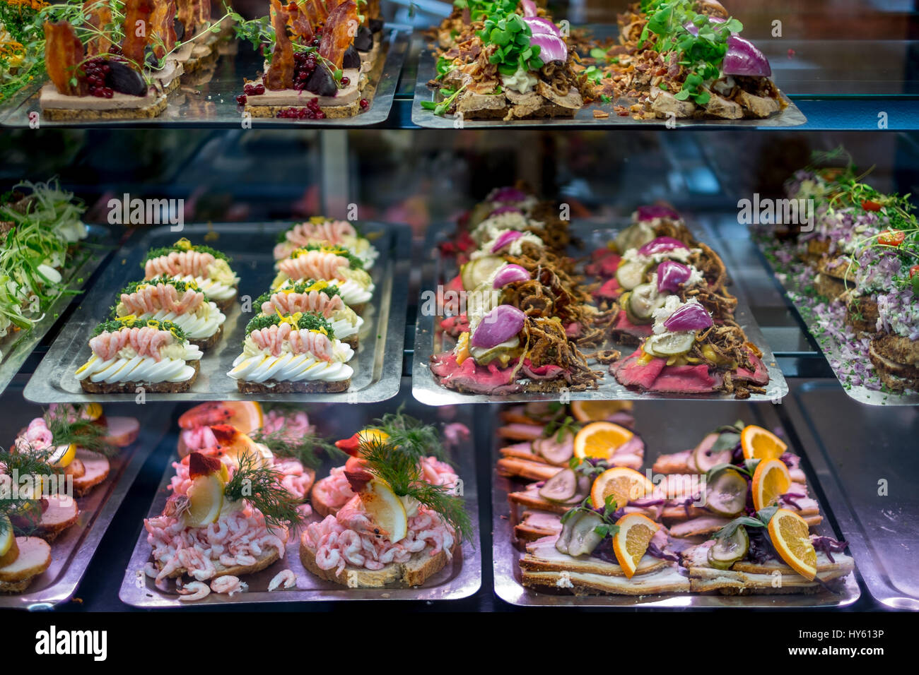Mouth Watering Display Of Danish Smørrebrød Traditional Open Rye