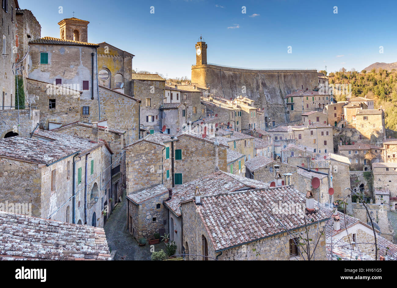 old town of Sorano, Grosseto province, Tuscany, Italy - Stock Image