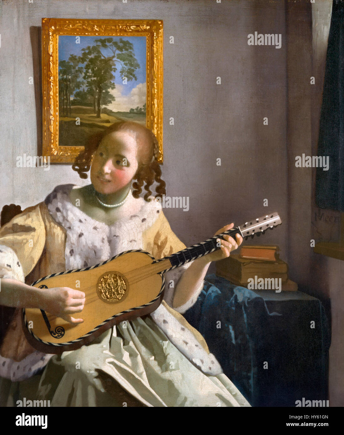 Vermeer. 'The Guitar Player' by Johannes Vermeer, oil on canvas, c.1672 - Stock Image