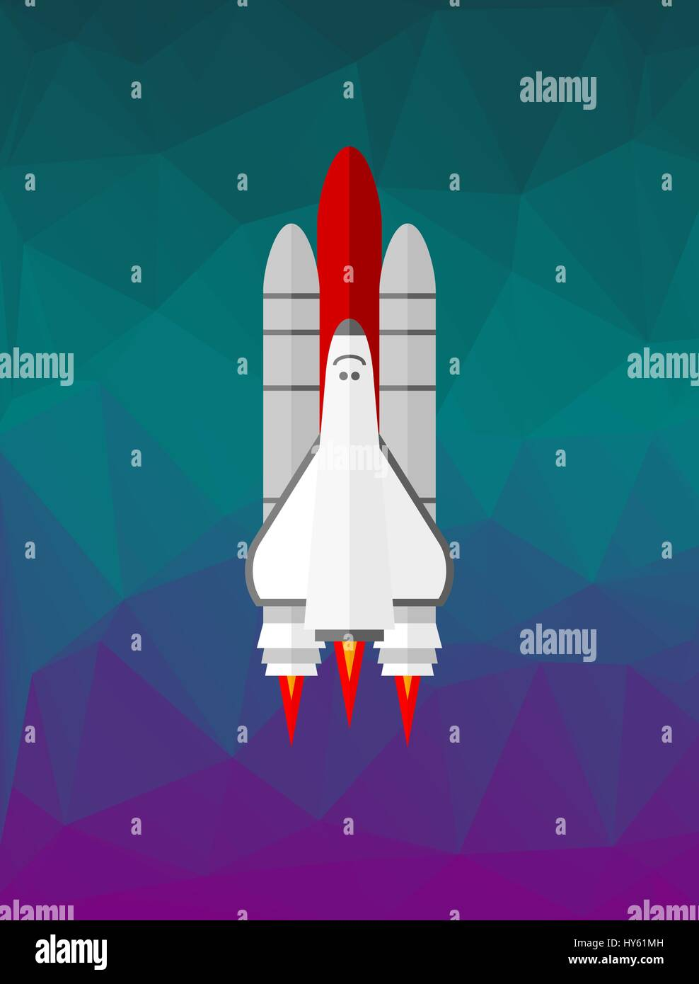Space shuttle on the low poly background Stock Vector