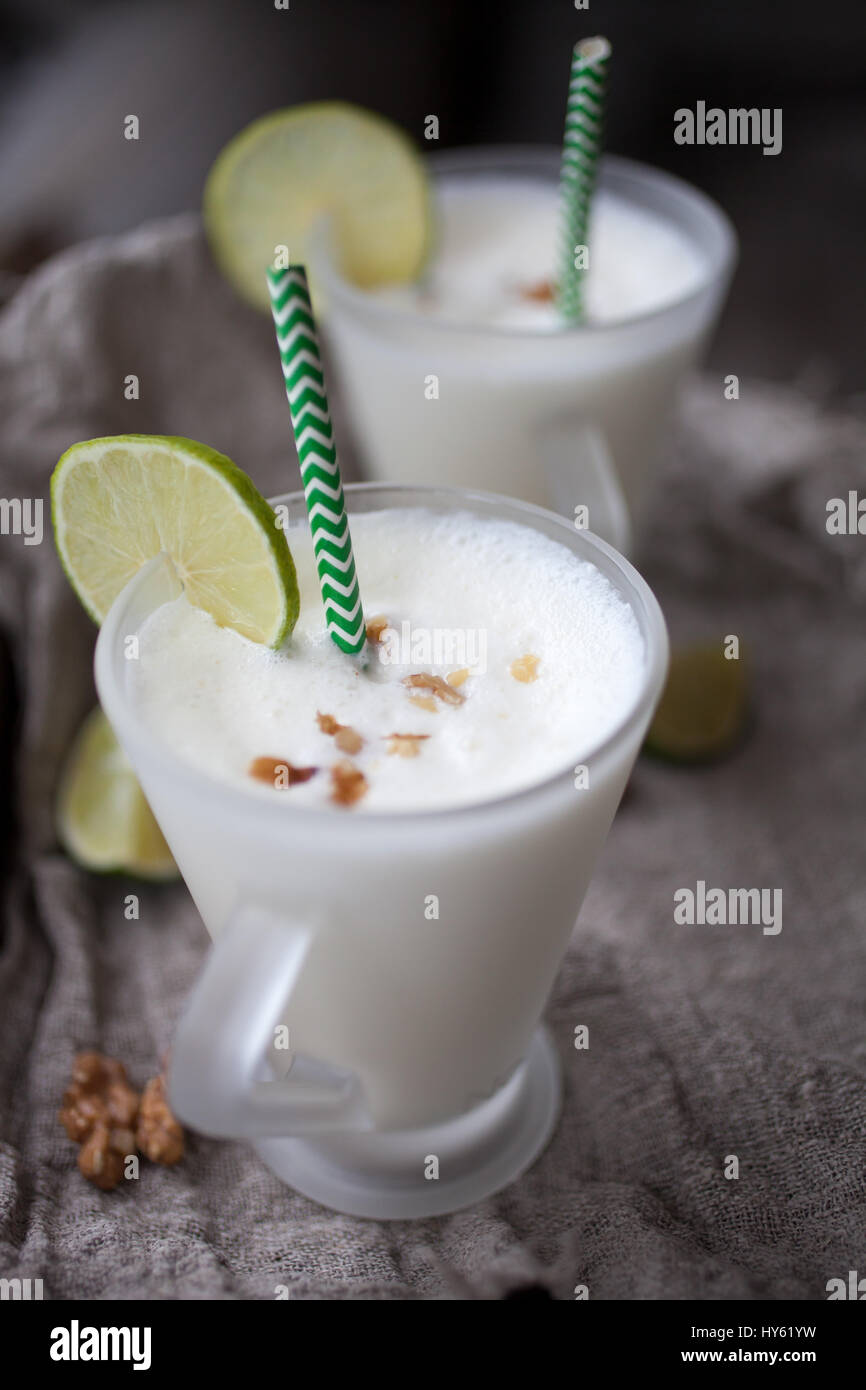 Lime milk shake for two Stock Photo: 137201565 - Alamy