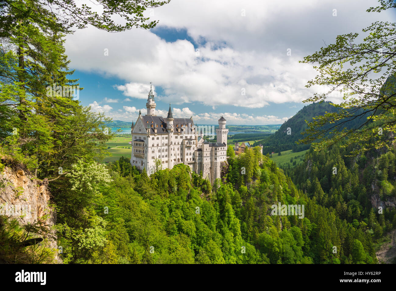 Picturesque nature landscape with Neuschwanstein Castle. Bavaria, Germany - Stock Image