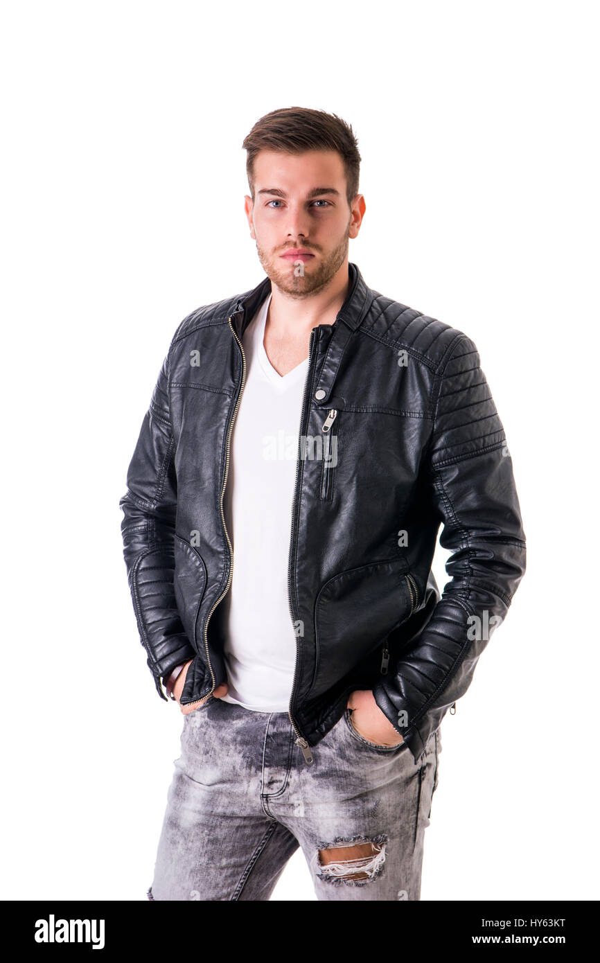 Handsome Young Man With Black Leather Jacket Stock Photo 137202908