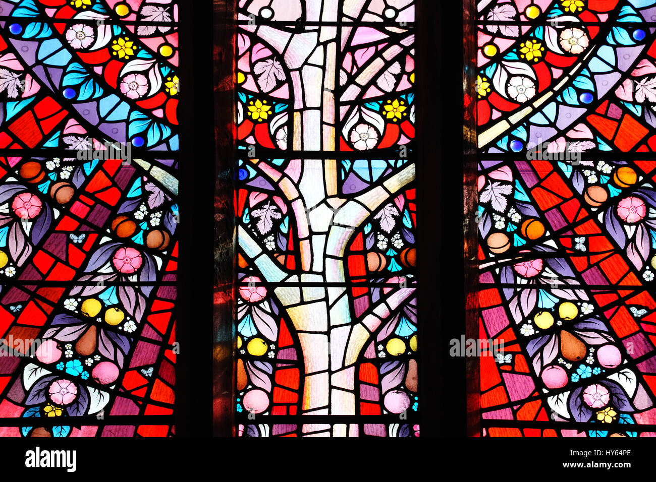 Carmarthen, Wales, UK, October 22, 2016 :  Stained glass window of St Peter's Church which shows the fruit of - Stock Image