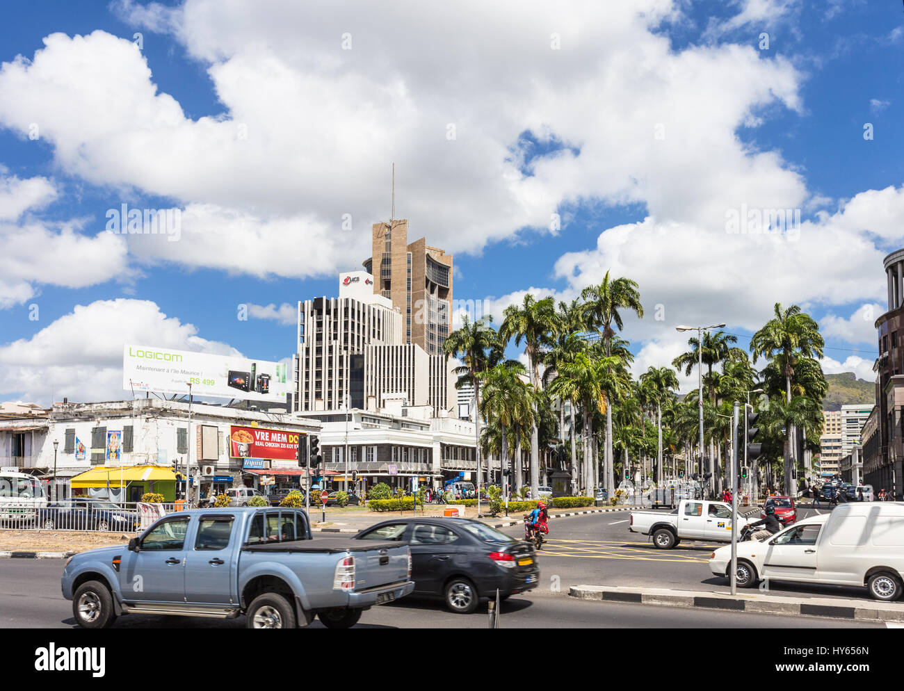 PORT LOUIS, MAURITIUS - NOVEMBER 18, 2016: Cars drive in the modern business center of Port Louis, Mauritius capital Stock Photo