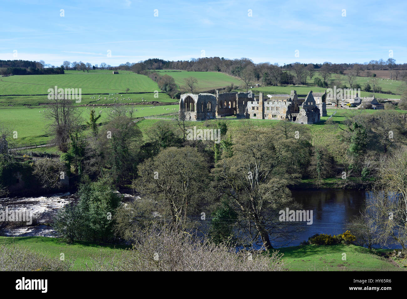 Egglestone Abbey and River Tees near Barnard Castle, seen from the B road high above the river. - Stock Image