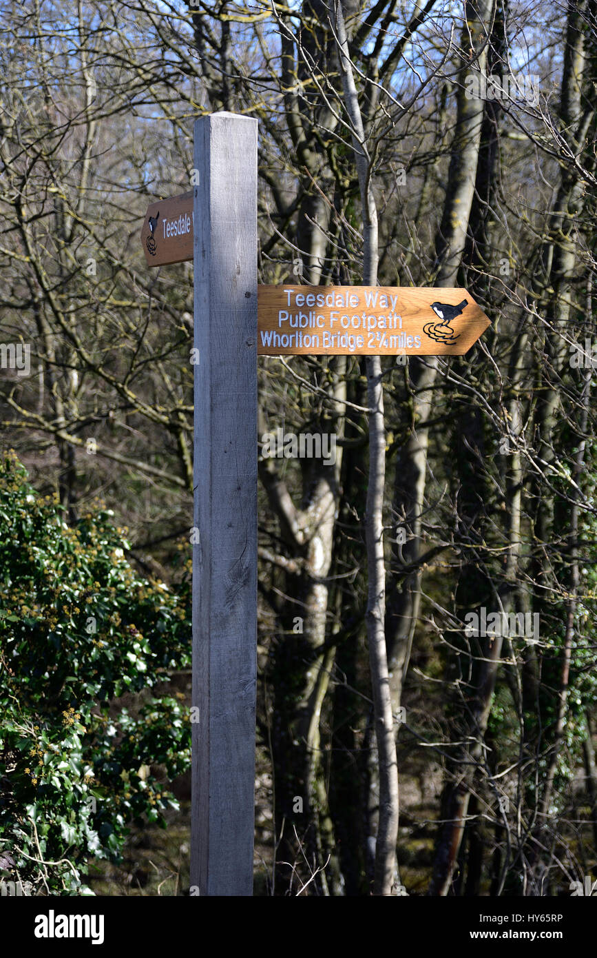 Teesdale Way signpost by Abbey Bridge , Egglestone, near Barnard Castle, County Durham - Stock Image