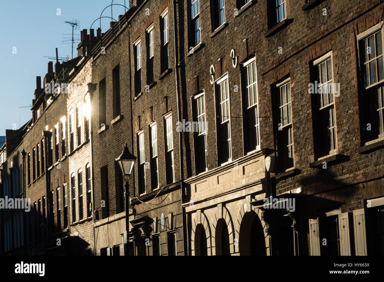 Fournier Street is an 'east-end' street of 18th-century houses in Spitalfields, in the London Borough of - Stock Image