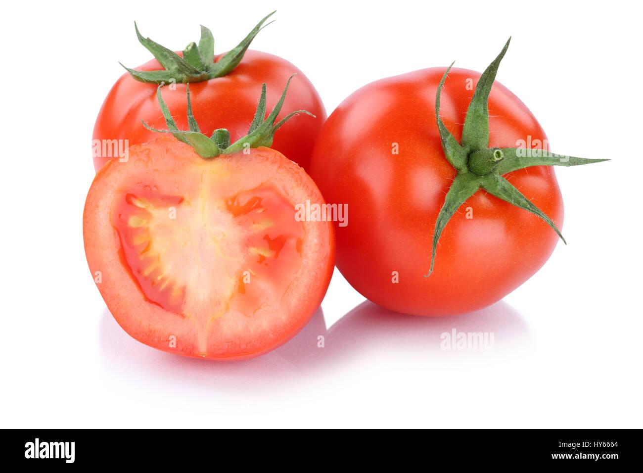 Tomatoes tomato slice vegetable isolated on a white background - Stock Image