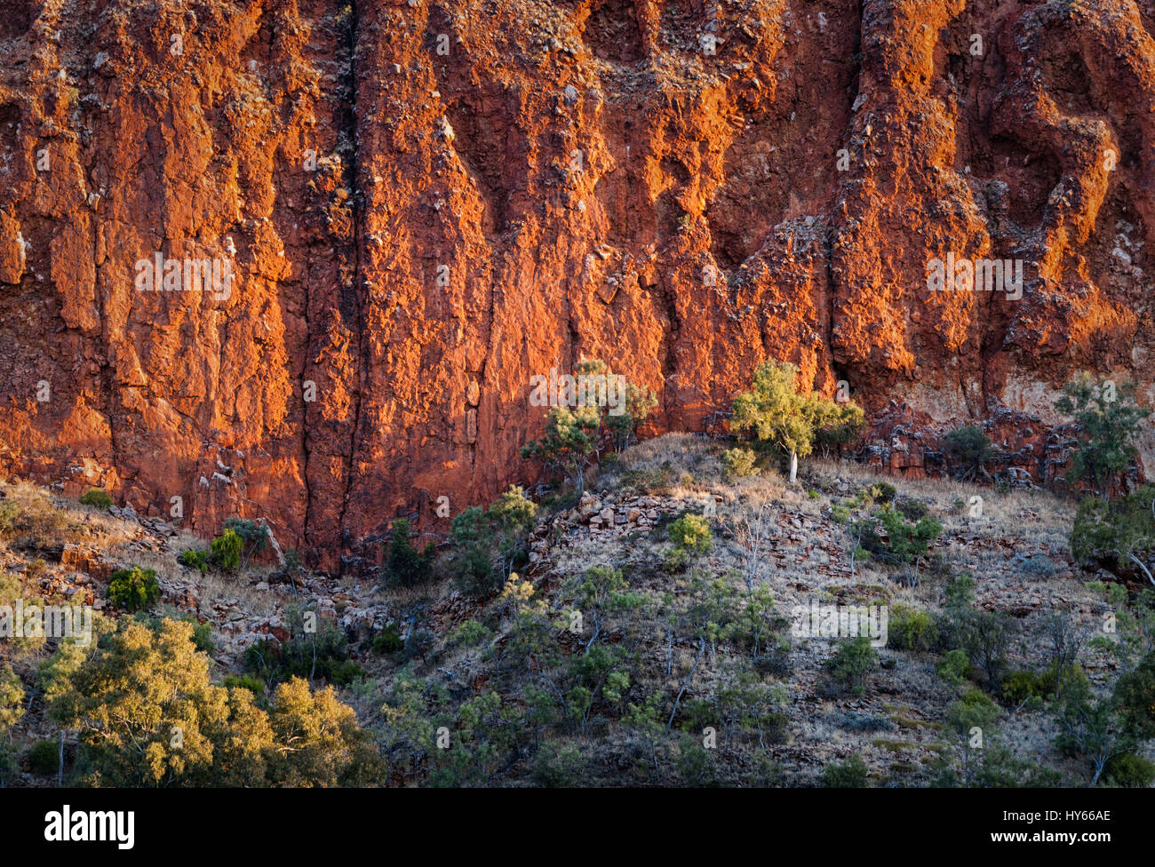 Red rock formations at Glen Helen Gorge in Northern Territory Central Australia - Stock Image