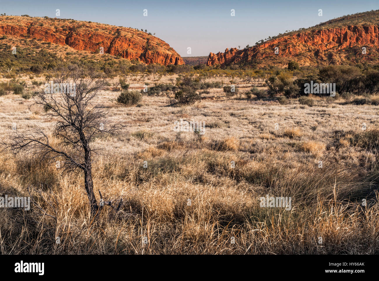 Red rock formations at Glen Helen Gorge water hole in Northern Territory Central Australia - Stock Image
