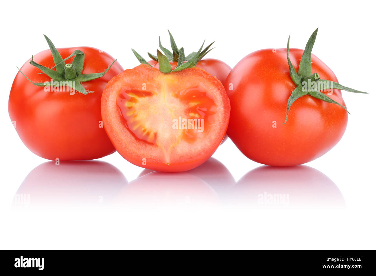 Tomatoes sliced slice fresh vegetable isolated on a white background - Stock Image