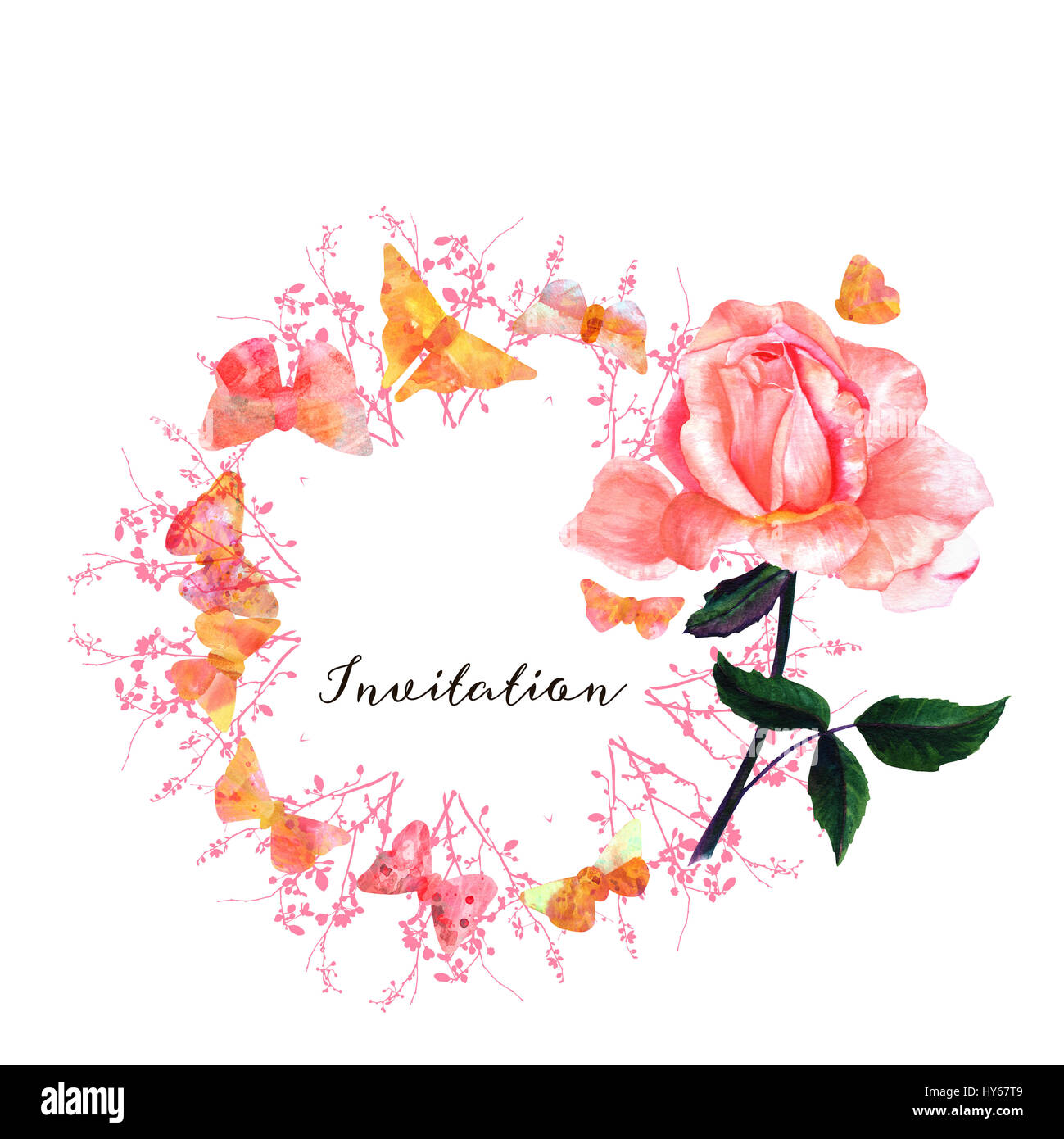 A greeting card or invitation design template with a tender pink a greeting card or invitation design template with a tender pink watercolour rose pastel toned butterflies and branches with buds with a place for m4hsunfo