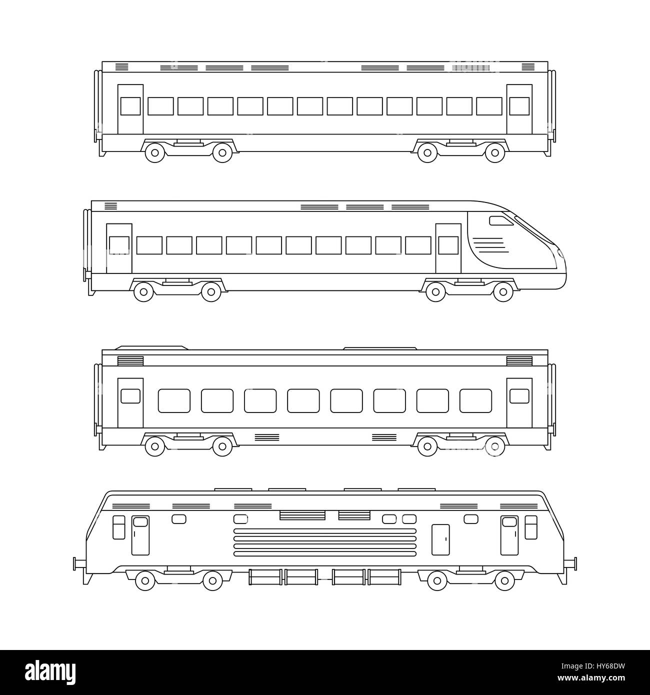 Trains line drawing Stock Vector
