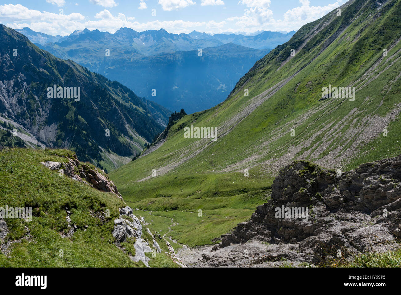Karst landscape, Steinernes Meer and Rote Wand, Lechquellen Mountains, Vorarlberg, Austria Stock Photo