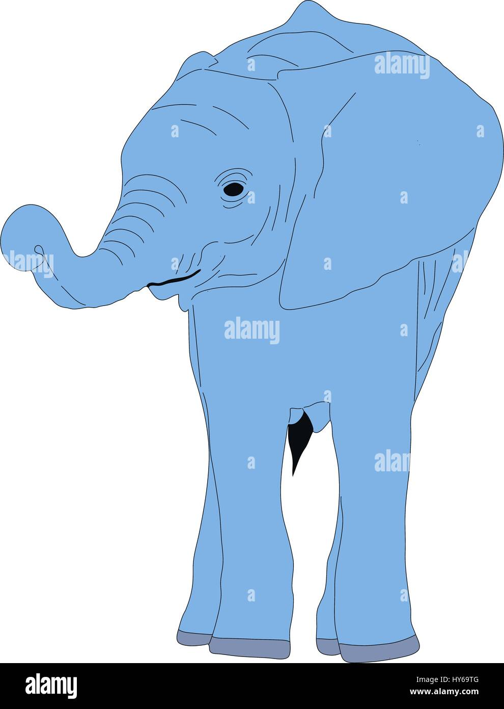 Portrait of a cute african elephant calw - Stock Vector