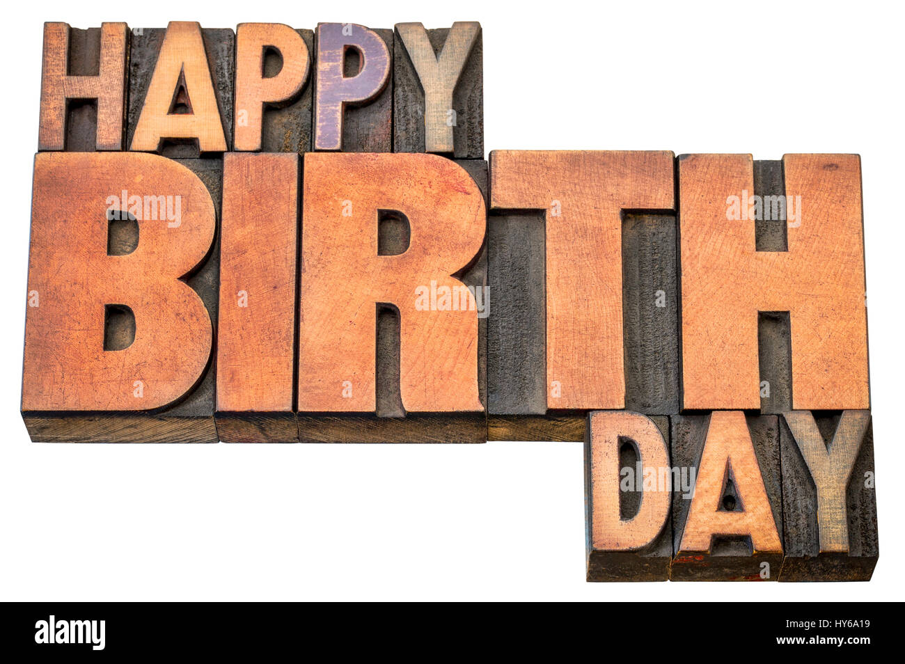 Happy Birthday Greeting Card Word Abstract In Vintage Letterpress