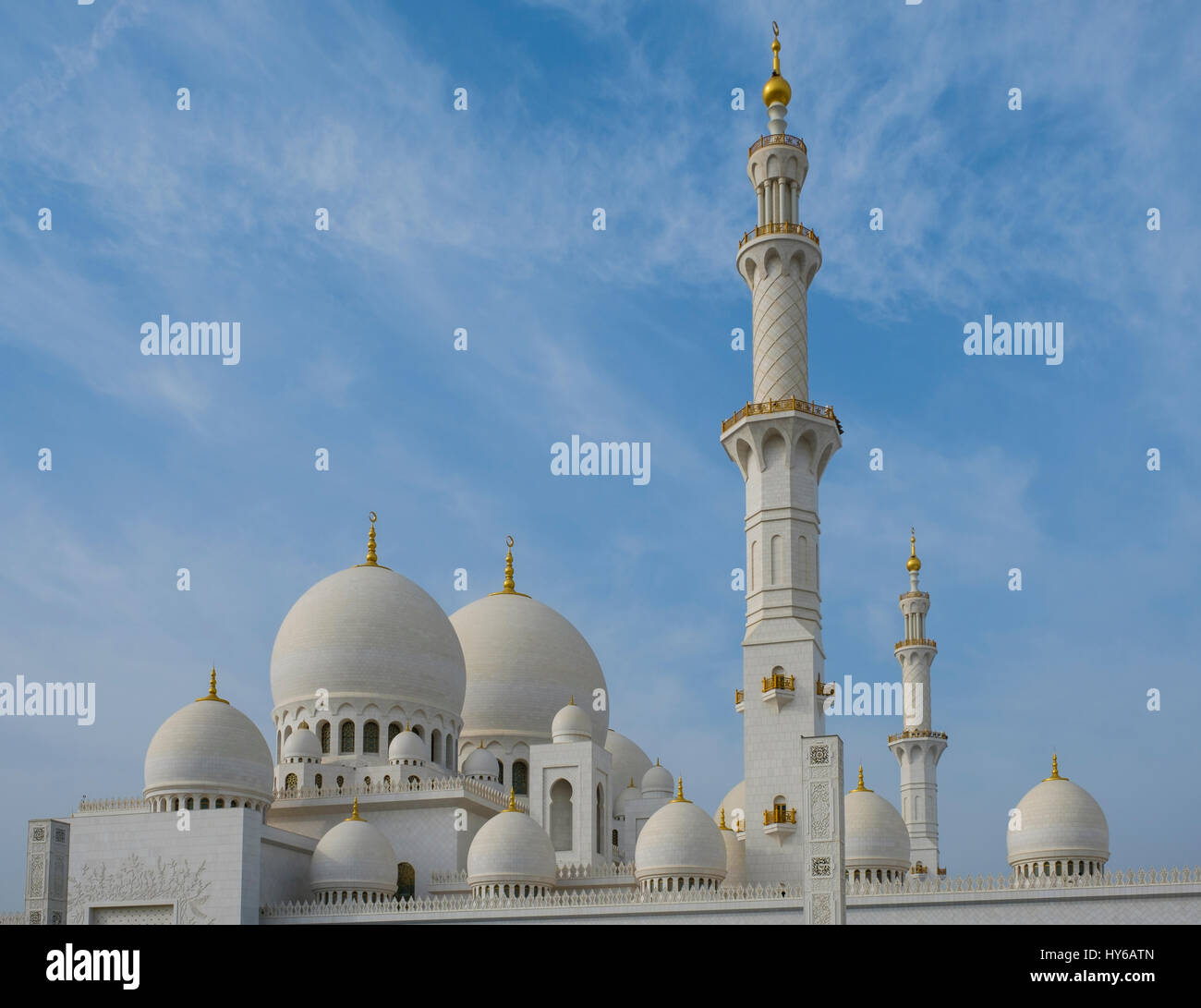 UNITED ARAB EMIRATES, ABU DHABI - CIRCA JANUARY 2017: View of the domes, cupolas and minaret of the Sheikh Zayed - Stock Image