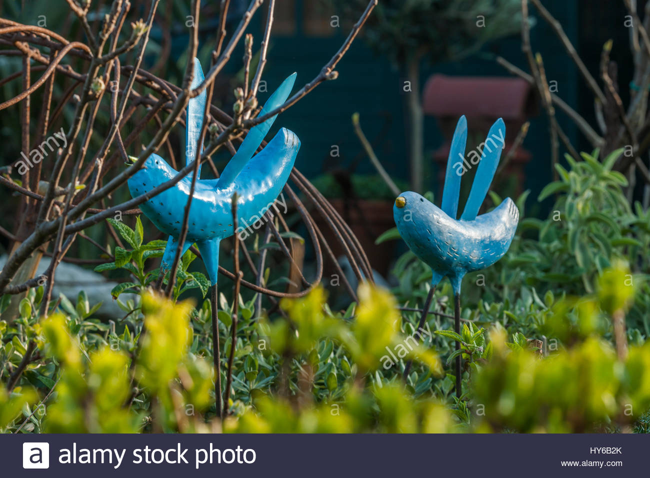 Driftwood garden Spring objects - Stock Image