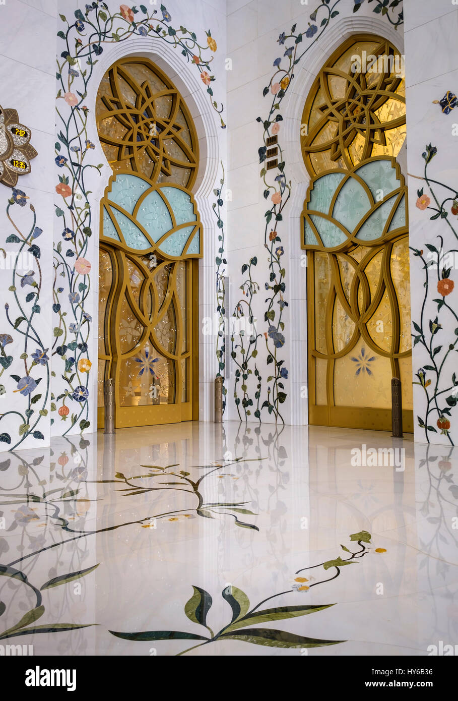 UNITED ARAB EMIRATES, ABU DHABI - CIRCA JANUARY 2017:  Interior Designs of the  Sheikh Zayed Mosque - Stock Image