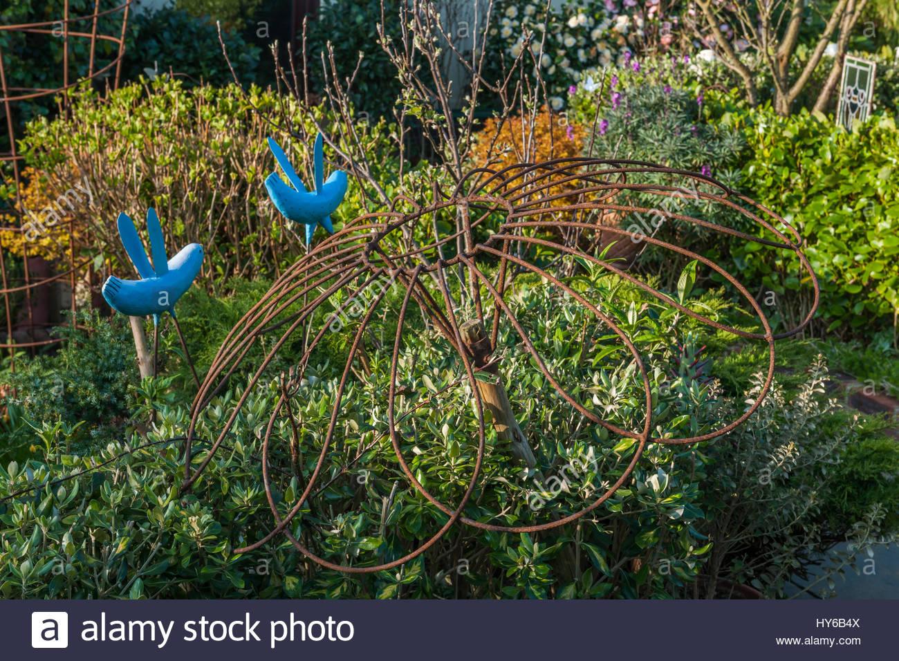 Driftwood garden art objects - Stock Image